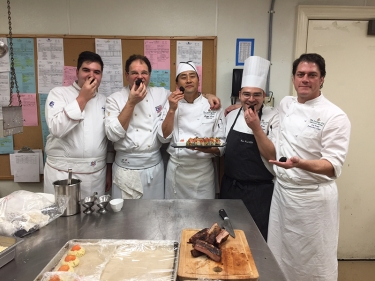 Zarri e Martino con gli chef del Plantation Club a Savannah in Georgia